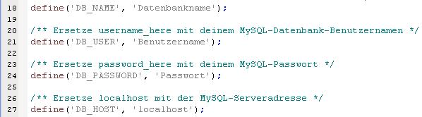 wp-config.php anpassen
